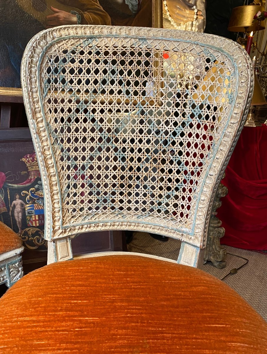 Rare suite de 4 chaises d'époque Louis XVI - 18ème. -photo-8