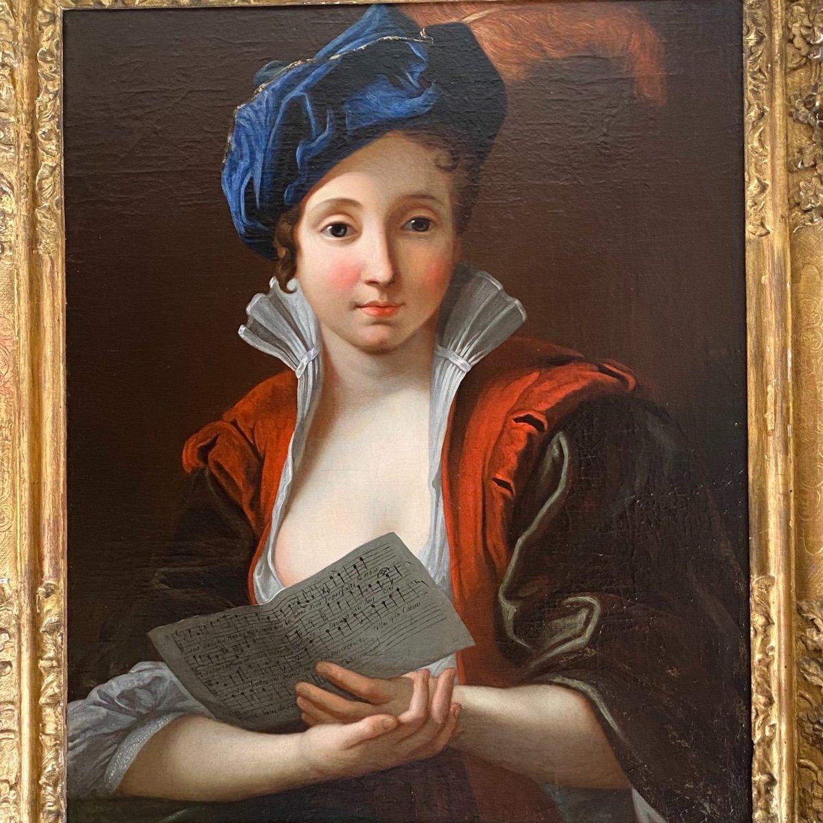 Jeune femme à la partition vers 1730 (J-F Courtin, entourage), XVIIIe. -photo-2