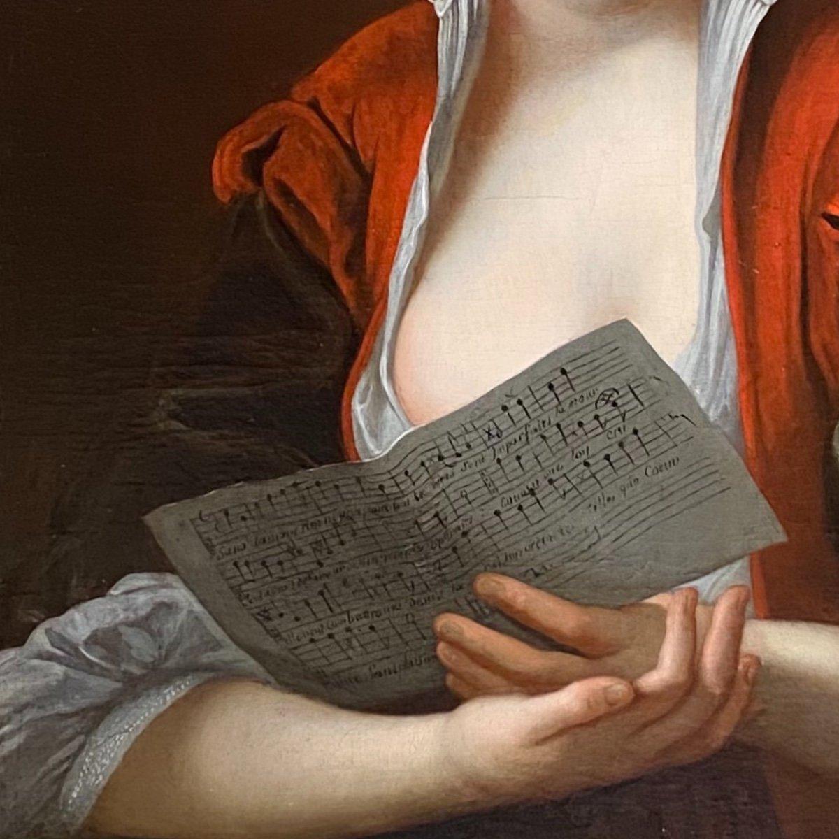Jeune femme à la partition vers 1730 (J-F Courtin, entourage), XVIIIe. -photo-1