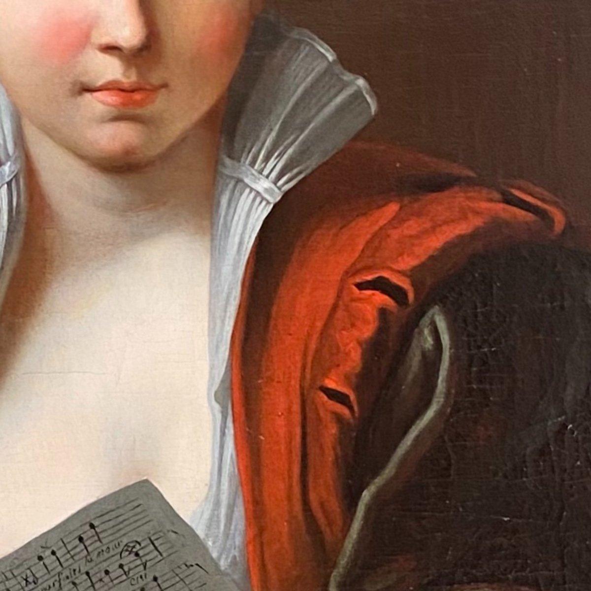 Jeune femme à la partition vers 1730 (J-F Courtin, entourage), XVIIIe. -photo-3