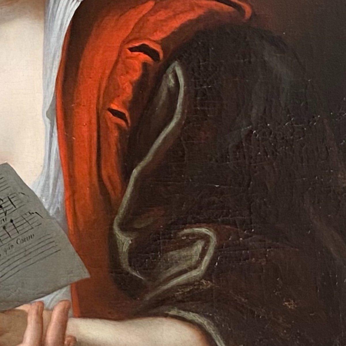 Jeune femme à la partition vers 1730 (J-F Courtin, entourage), XVIIIe. -photo-4