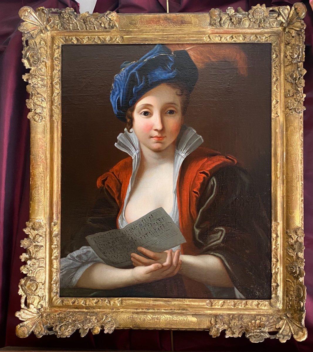 Jeune femme à la partition vers 1730 (J-F Courtin, entourage), XVIIIe.