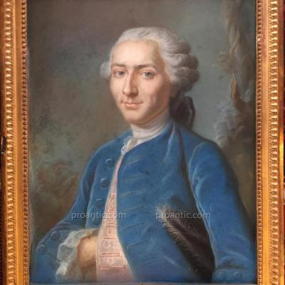 Pastel Eighteenth Man In Suit Blue, Louis XV.