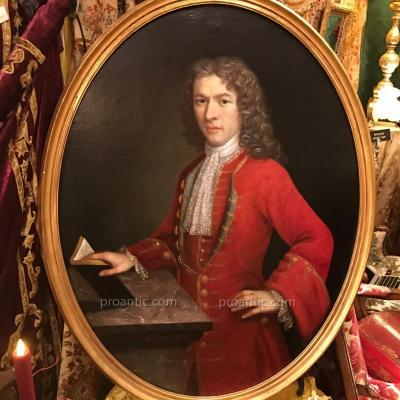 Noble Piémontais en luxueux habit rouge. Vers 1725