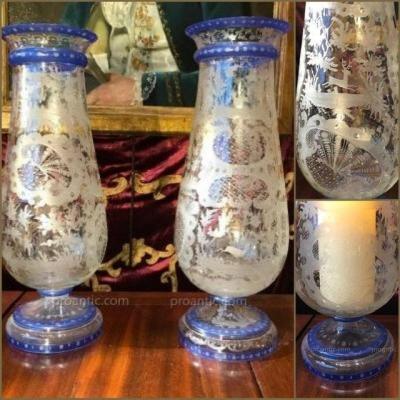 Baluster Vases, Engraved Glass, Circa 1825.