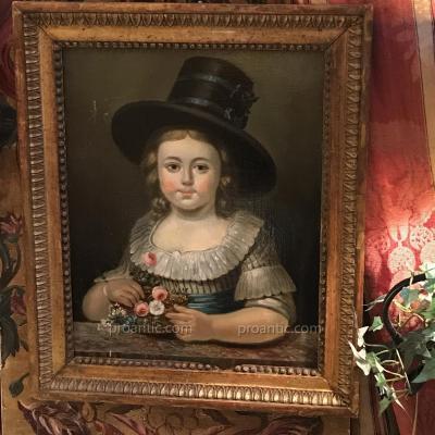 Enfant au chapeau, vers 1790, école Française. HST