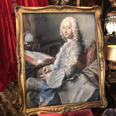 Marquis de Saint Vrain, important pastel, d'apr. Quentin de La Tour (1745). Epoque XIXème.