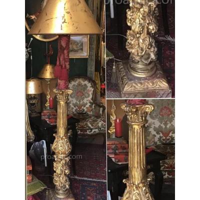 Lampadaire sur pique-cierge époque Louis XIV, bois sculpté doré, XVIIIème