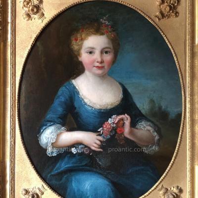 Jeune fille, époque Louis XV, XVIIIème. HST
