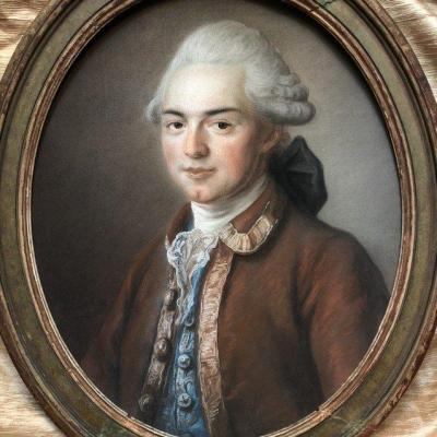 Portrait en pastel, 1772, par M de Bresson, élève de Drouais peintre du Roy.