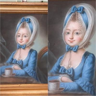 Toute en beauté bleue à son chocolat, XVIIIème