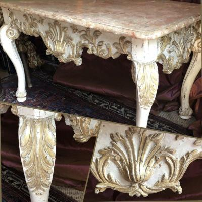 Naples XVIIIè, Large Low Console, Carved, Faux Marble.