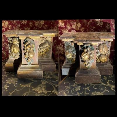 Pair Of Plinths, Polychrome Carved Wood, Late 17th Century, Provence.