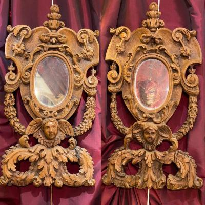Oval Mirrors In Carved Frames, Late 17th Century, Old Canons.
