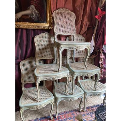 F. Canot, Rare Suite, 6 Canned Chairs, Louis XV Period. Lyon.