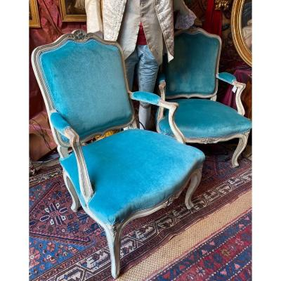 Pair Of Large Armchairs, Provence, 18th Century, Louis XV Period.