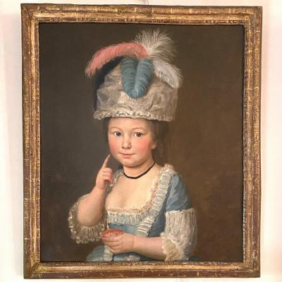 Little Girl With A Feather Bonnet And Blush, End Of The 18th Century, Th. Louis XVI