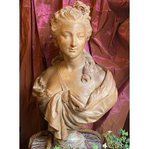 Buste de jeune femme du XVIIIe, esprit de Caffieri, terre cuite  XIXe