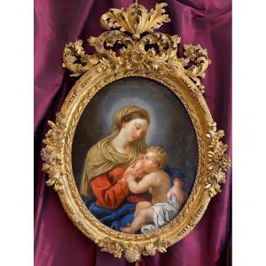 Fin 17ème, éclatant portrait, vierge à l'enfant au sein, Ecole Romaine, vers 1700