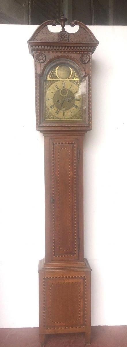Horloge De Parquet Marquetée Horloge Anglaise Du XIX Siècle