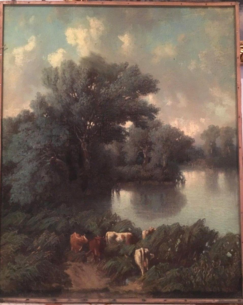 """Pastel Old """"flock Of Cows At The Pond""""-photo-2"""