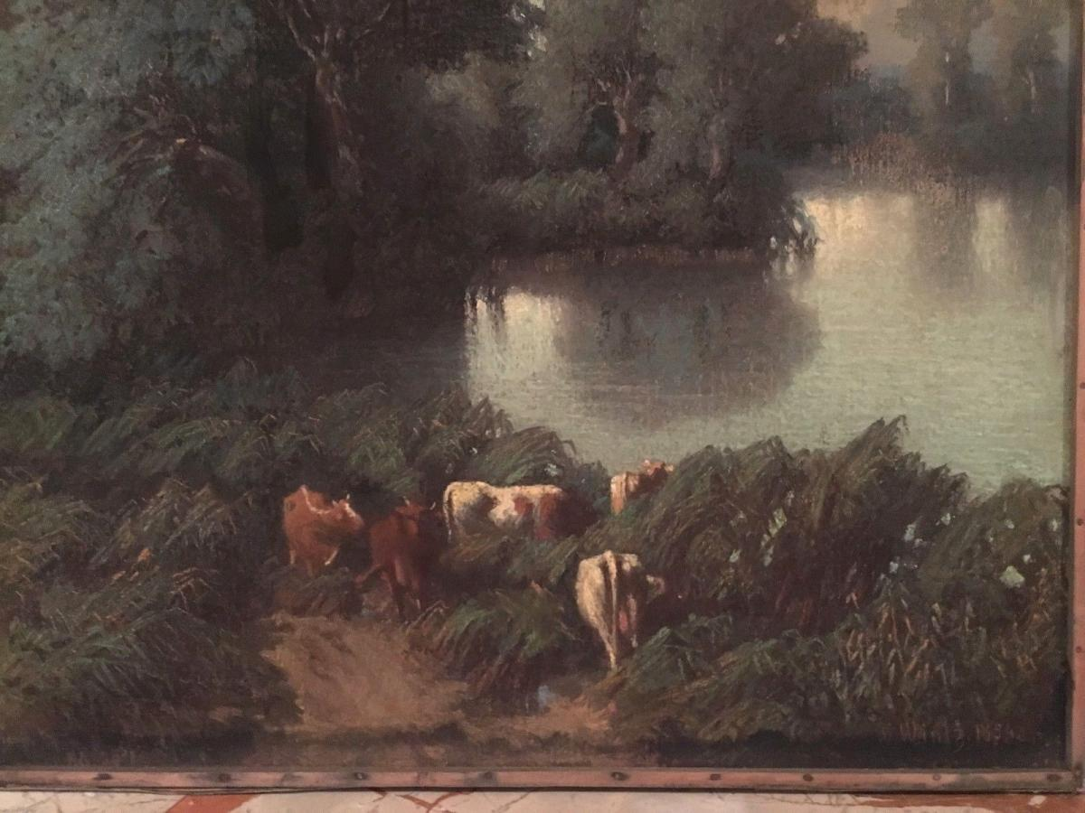 """Pastel Old """"flock Of Cows At The Pond""""-photo-3"""