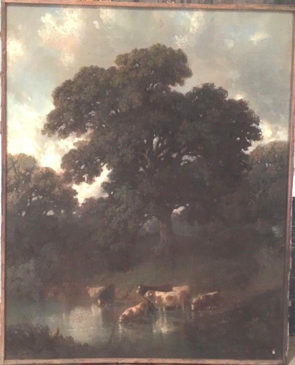"""Pastel Old """"flock Of Cows At The Pond"""""""