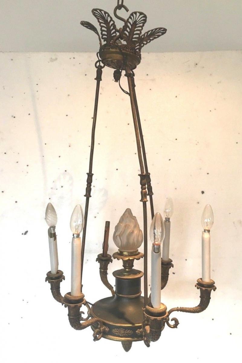 Lustre En Bronze De Style Empire Luminaire Lustre A Palmettes