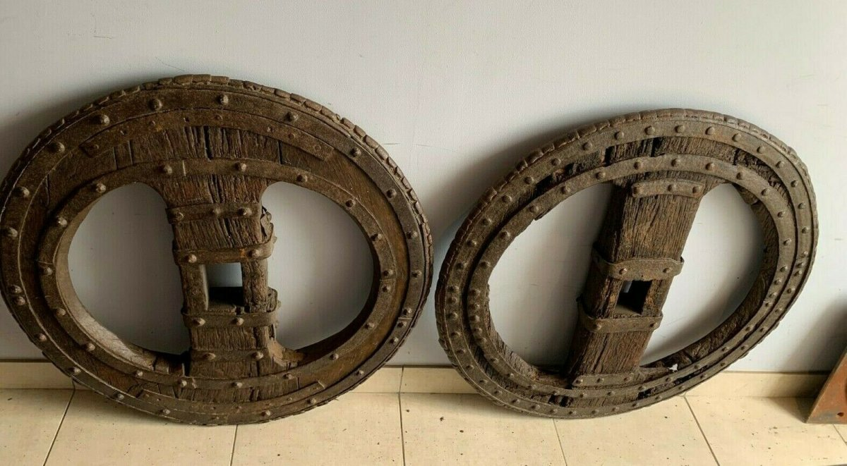 Two Wheel Wheels In Wrought Iron Riveted And Interior In Oak XVI Century-photo-5