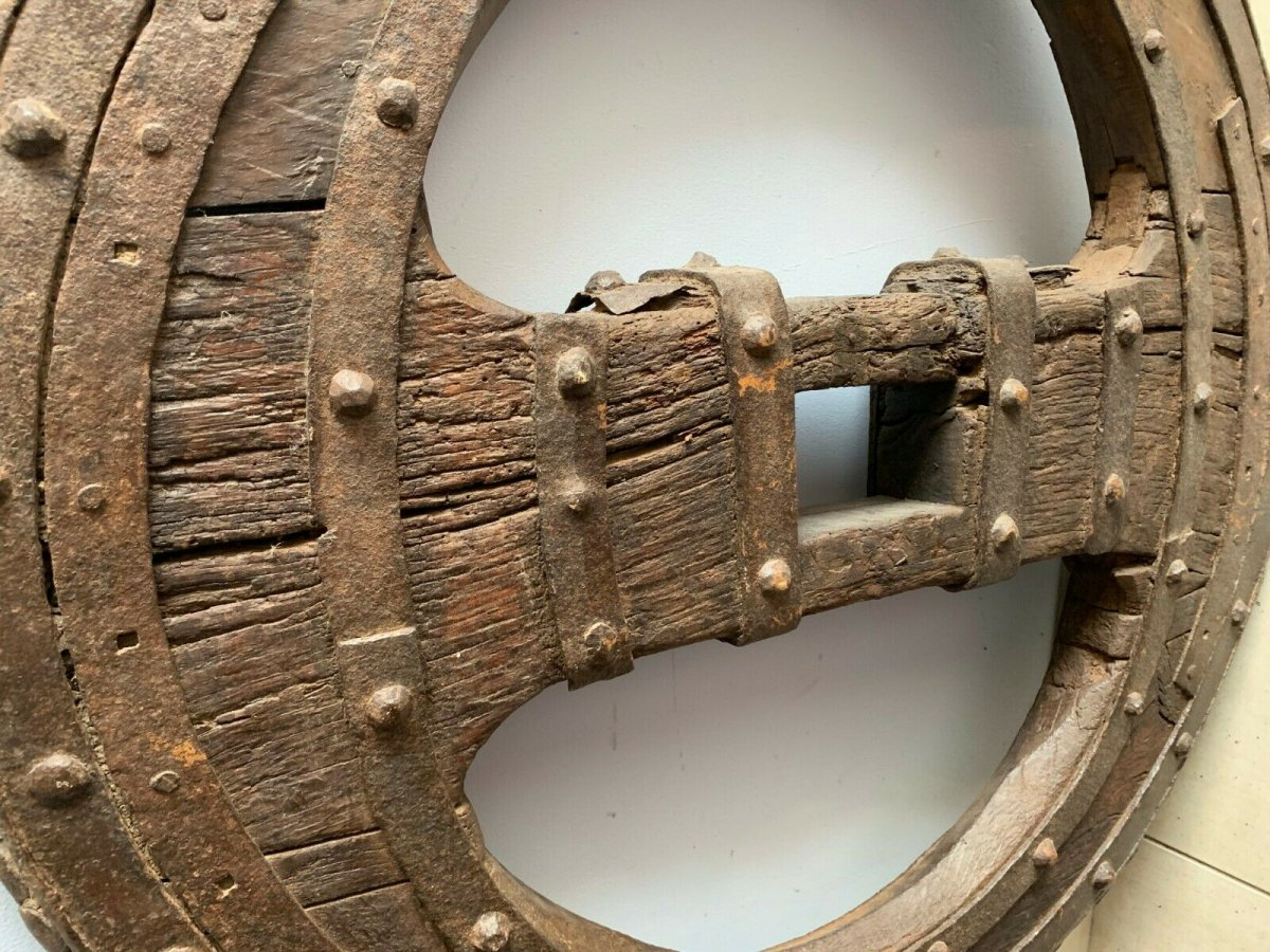 Two Wheel Wheels In Wrought Iron Riveted And Interior In Oak XVI Century-photo-6