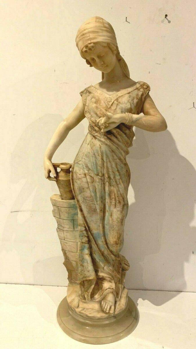 Groupe En Albâtre Sculpté Jeune Femme En Albâtre Sculpté XIX Siècle P Giorgi