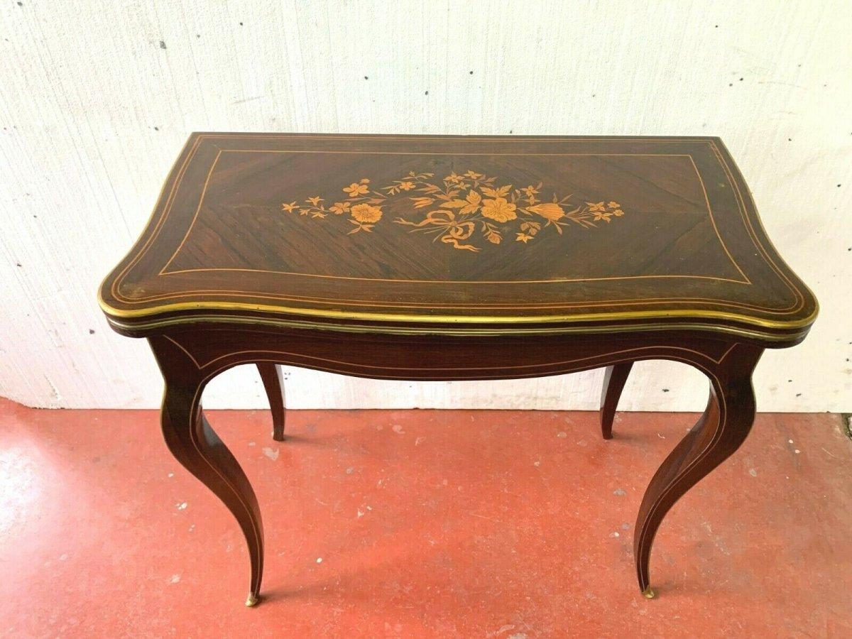 Table A Jeux En Marqueterie De Style Louis XV Palissandre Et Bois Clair XX Ieme