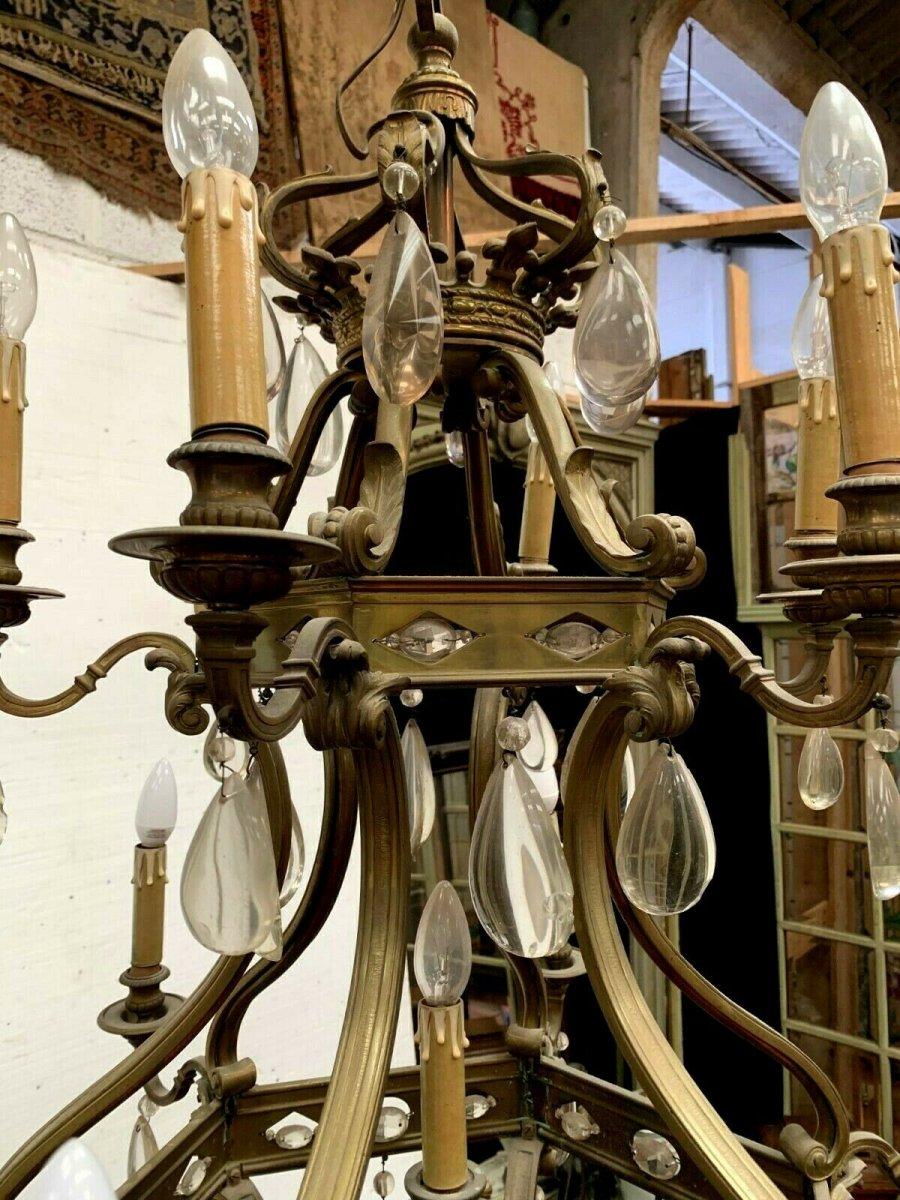 Lustre Cage Se Style Renaissance En Bronze Et Pendeloques De Verre Coloré XIX-photo-2