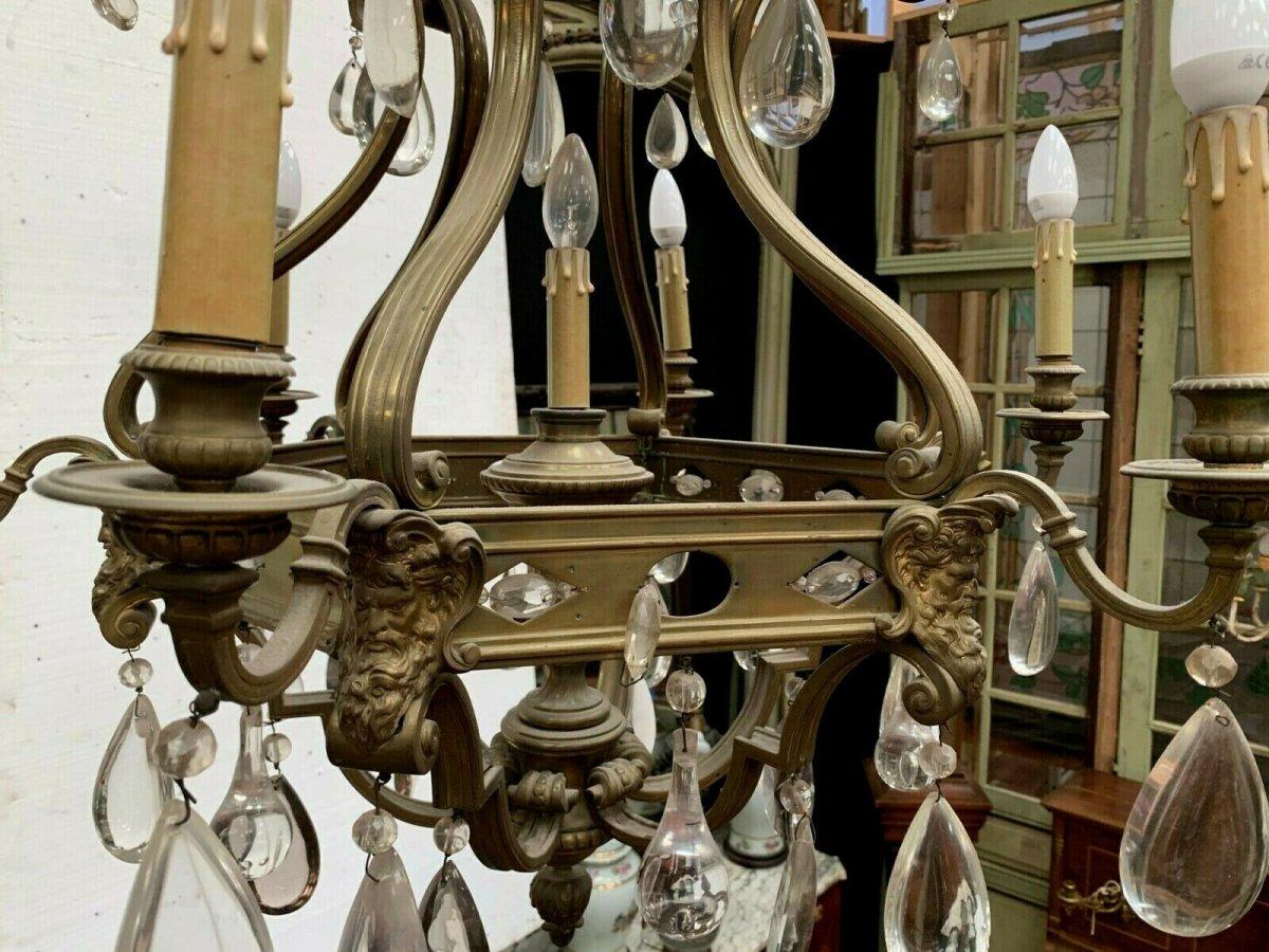 Lustre Cage Se Style Renaissance En Bronze Et Pendeloques De Verre Coloré XIX-photo-3