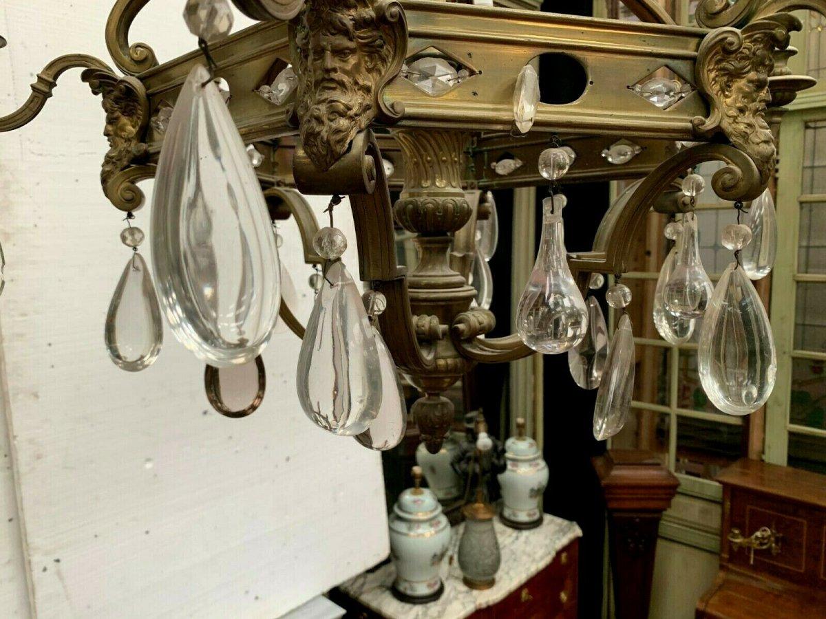 Lustre Cage Se Style Renaissance En Bronze Et Pendeloques De Verre Coloré XIX-photo-4