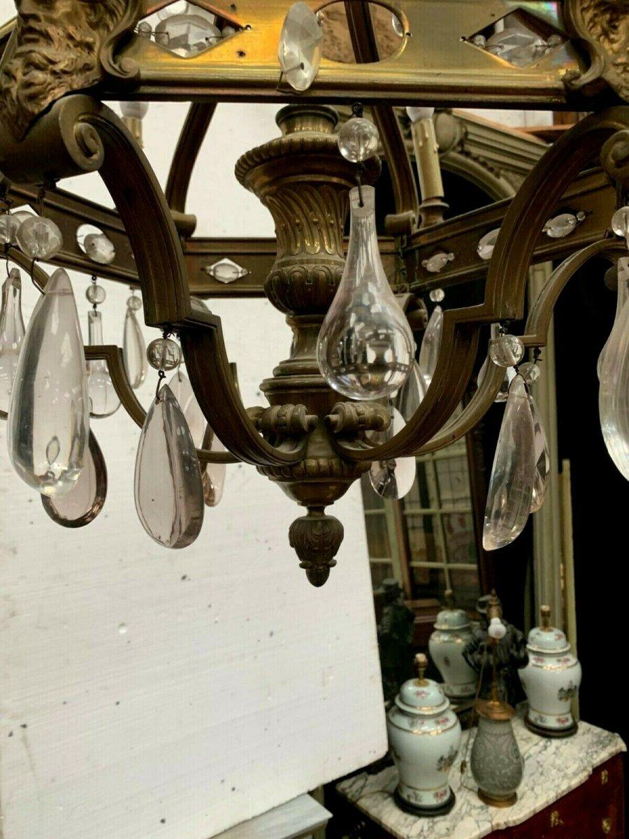 Lustre Cage Se Style Renaissance En Bronze Et Pendeloques De Verre Coloré XIX-photo-1