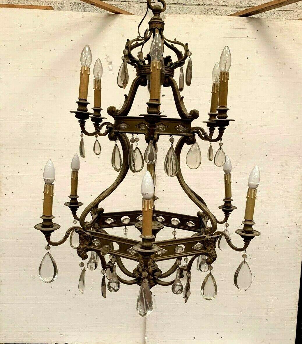 Lustre Cage Se Style Renaissance En Bronze Et Pendeloques De Verre Coloré XIX