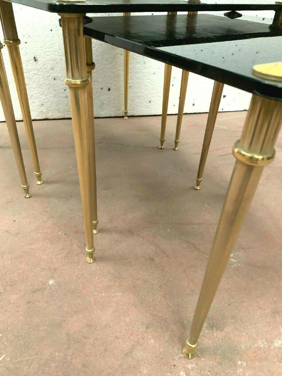 Table Gigogne En Laiton Et Verre Noir XX Siècle-photo-4
