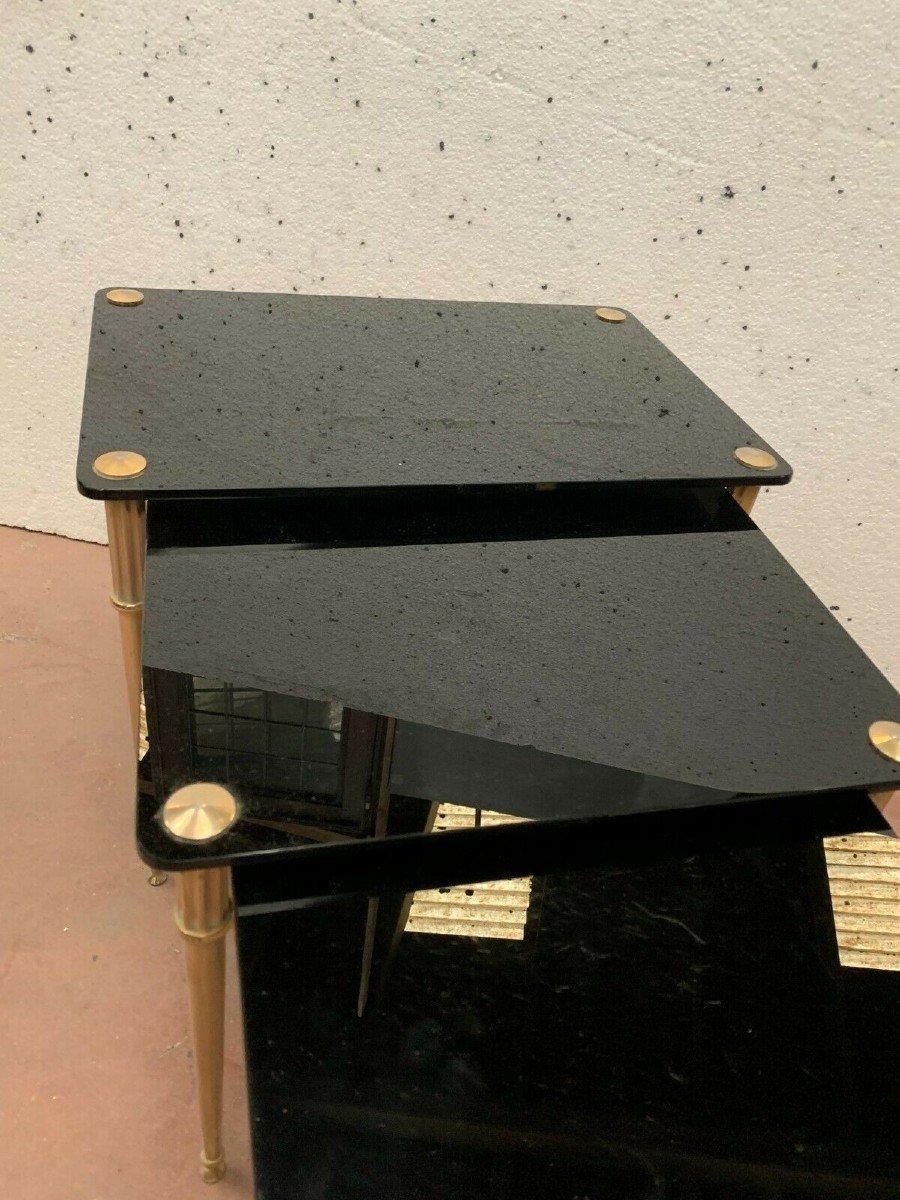 Table Gigogne En Laiton Et Verre Noir XX Siècle-photo-1