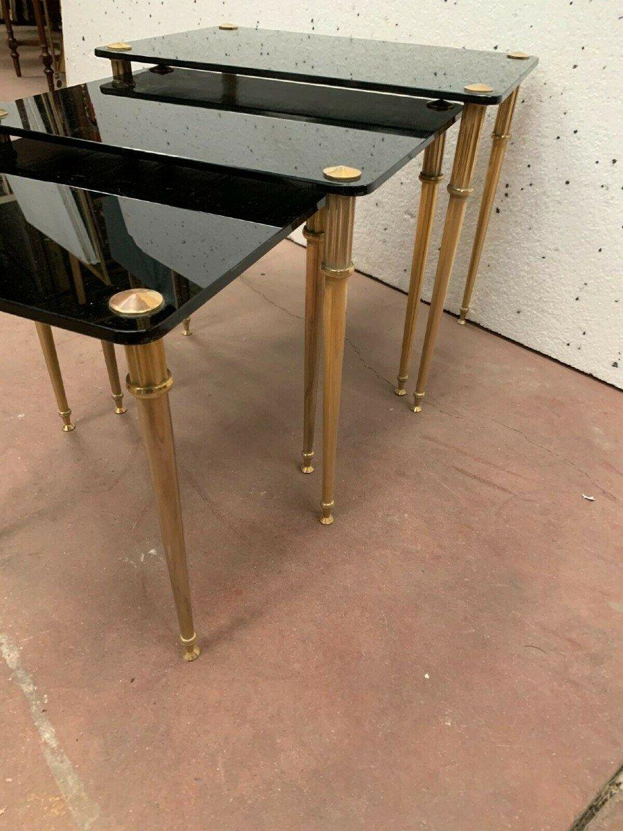 Table Gigogne En Laiton Et Verre Noir XX Siècle-photo-2