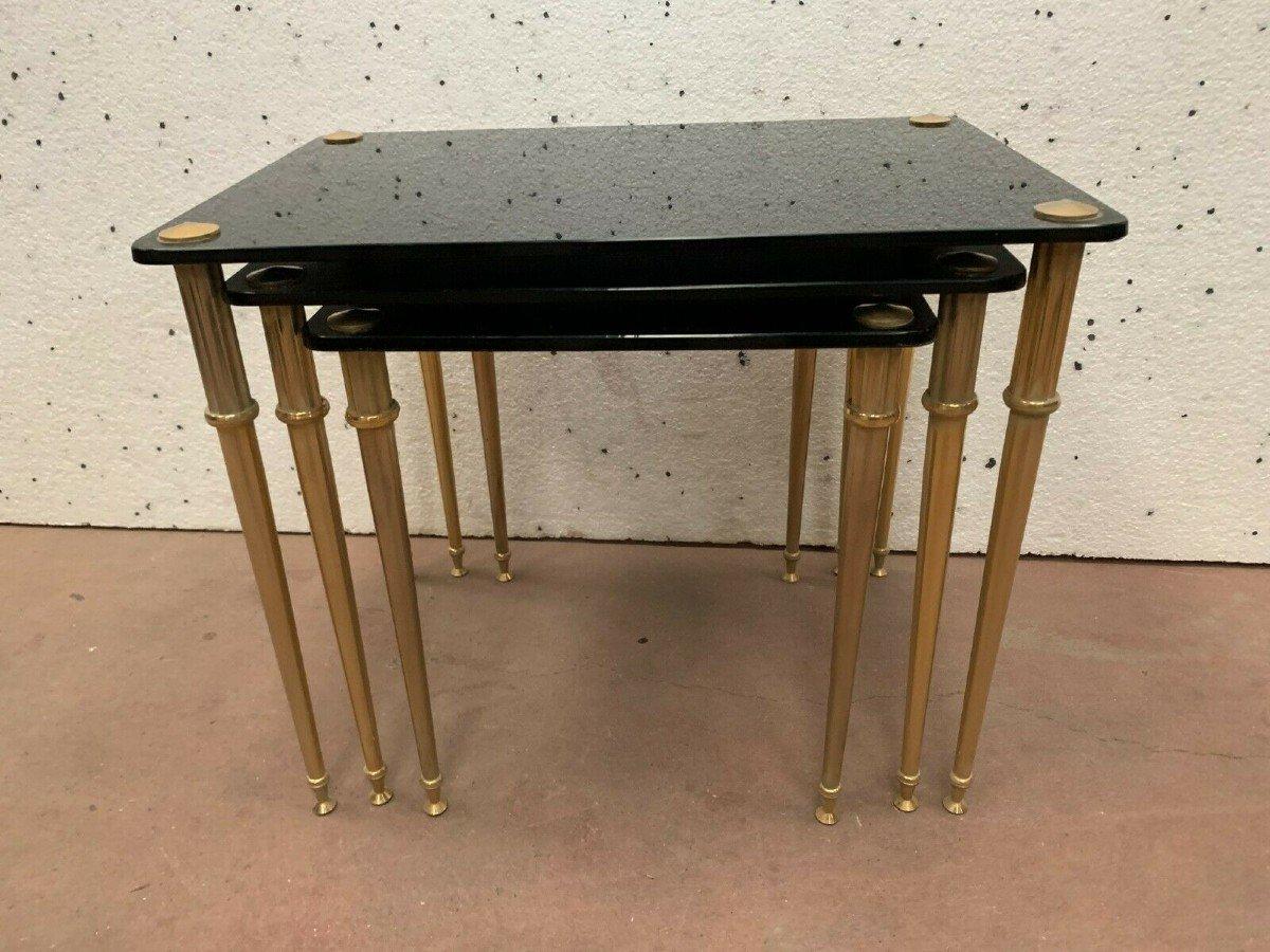 Table Gigogne En Laiton Et Verre Noir XX Siècle-photo-5