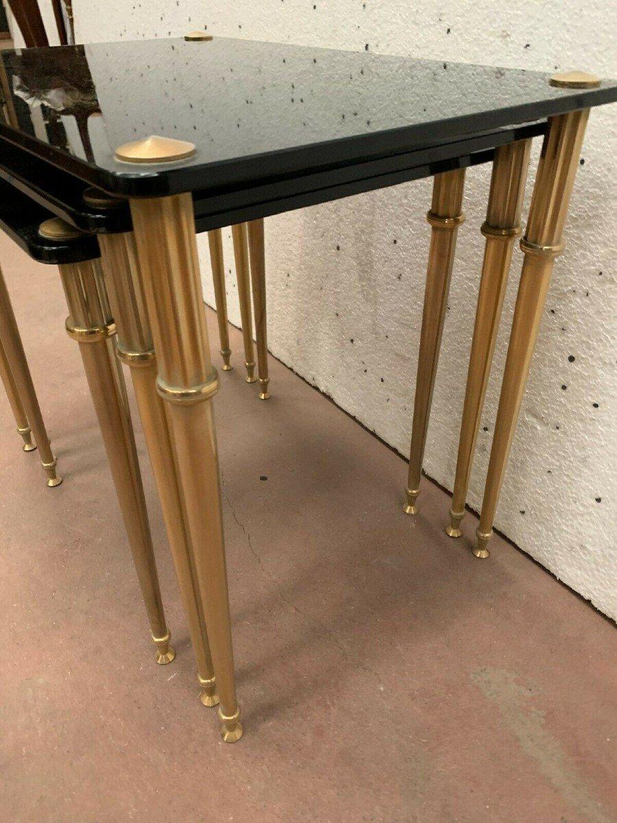 Table Gigogne En Laiton Et Verre Noir XX Siècle-photo-6