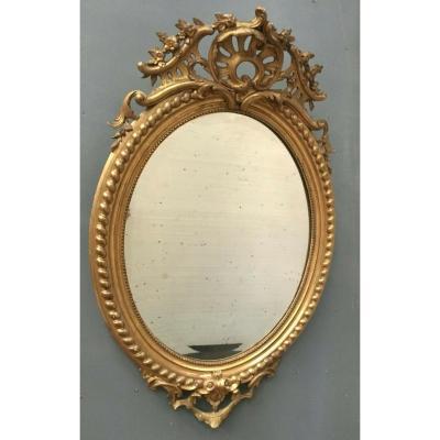 Miroir Ovale A Fronton En Bois Et Stuc Doré Glace Ovale Biseautée Napoléon III