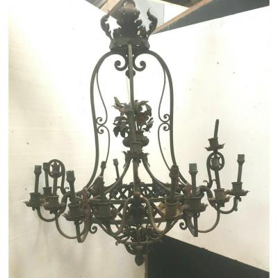 Chandelier In Hammered Iron Twenty Arms Of Light XX Century