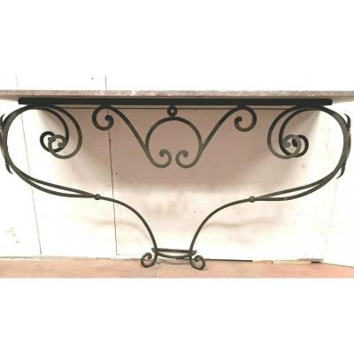 Wrought Iron Style Console Top Marble Red Pedestal A Volute