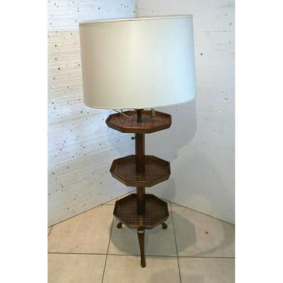 Lamppost A Three Trays Mahogany Inlaid Maison Malabert XX Century Bolster