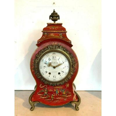 Cartel To Poser Wood Lacquered Red Chinese Decor XX Century Pendulum Clock