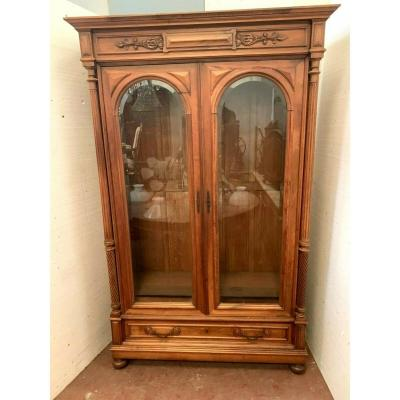 Showcase Two Doors In Solid Walnut Showcase With Detached Columns XIX Century