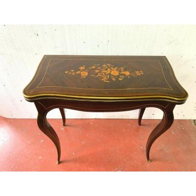 Table A Games In Marquetry Louis XV Style Rosewood And Light Wood XX Ieme