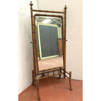 Miroir Psyché En Merisier Façon Bambou XIX Siècle